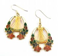Vintage Style Cloisonne Floral Drop Earrings